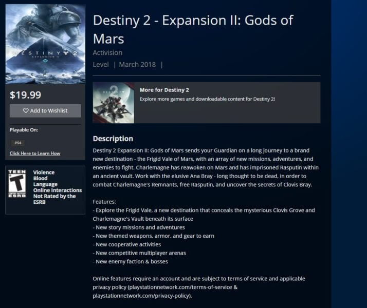 Destiny 2, leaks de la prochaine extension Gods of Mars