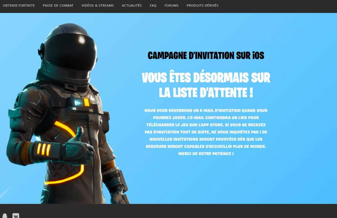 Inscription mobile fortnite sur mobile etape