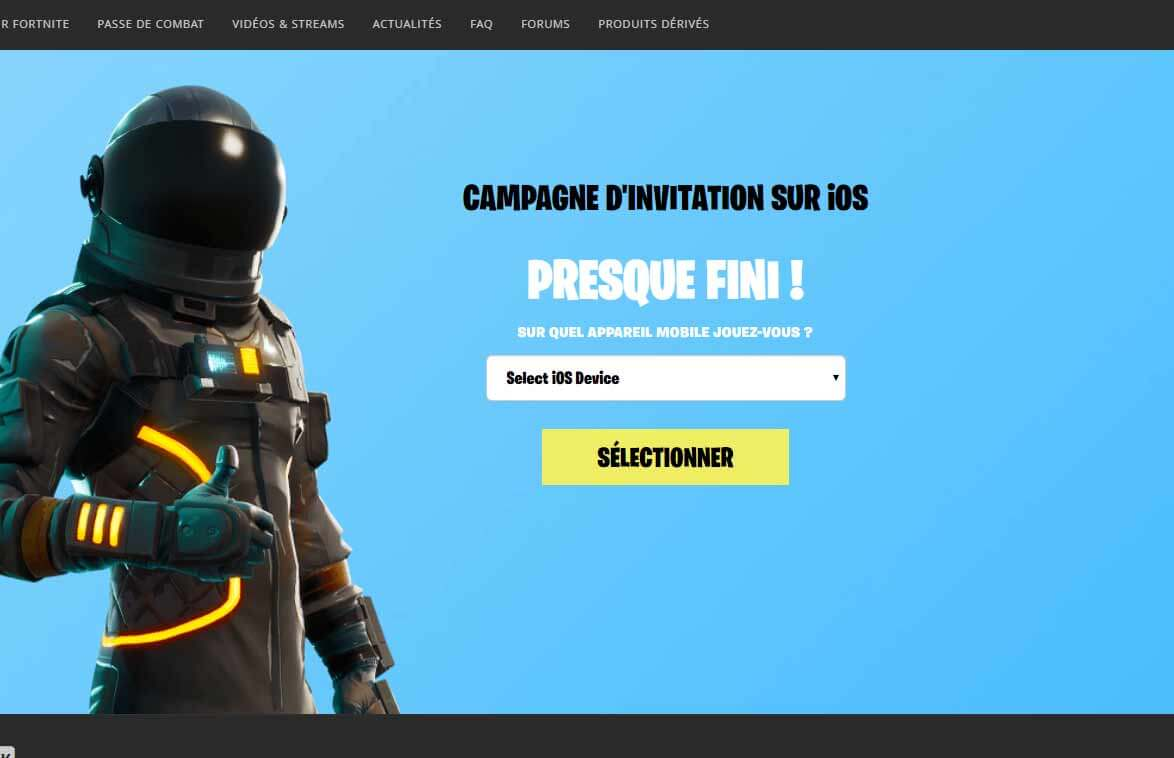 inscription mobile fortnite sur mobile etape - code cadeau fortnite