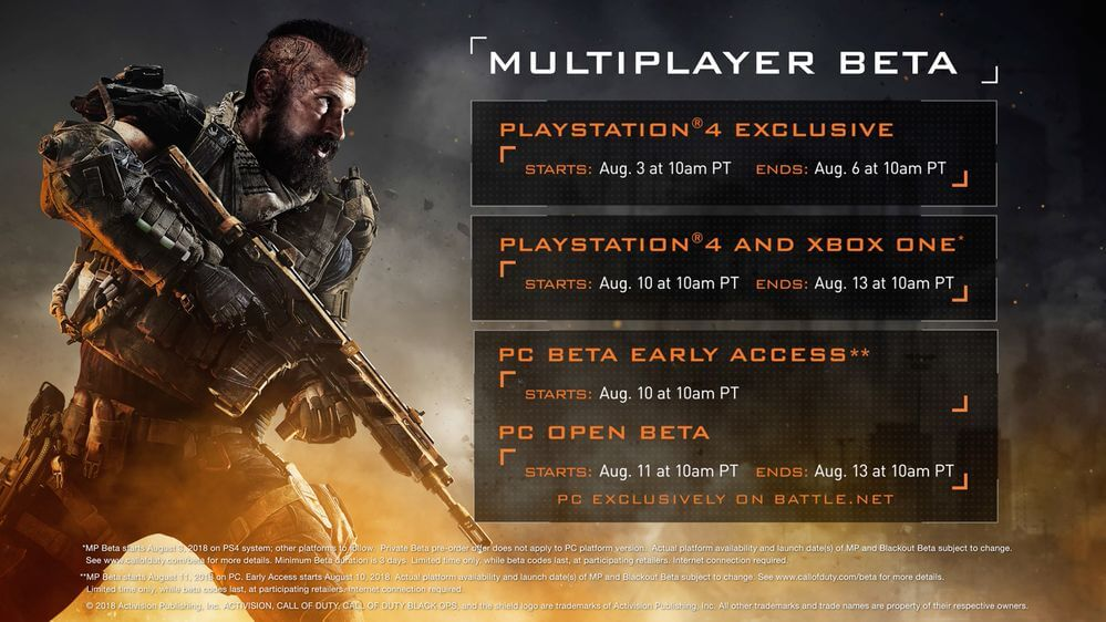 Call of Duty Black Ops 4 : Dates & horaires bêta fermée multijoueurs
