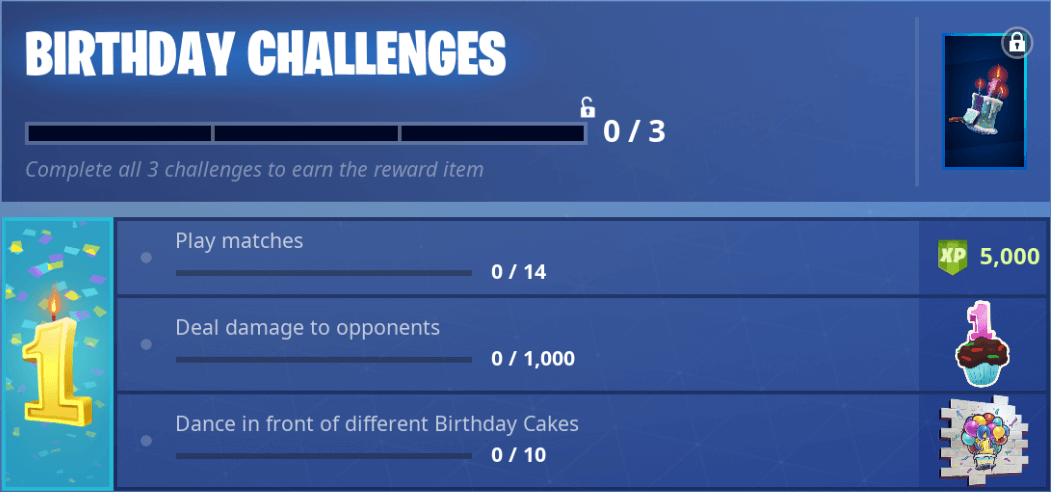 Fortnite Birthday Challenges - Défis & récompenses du 1er anniversaire