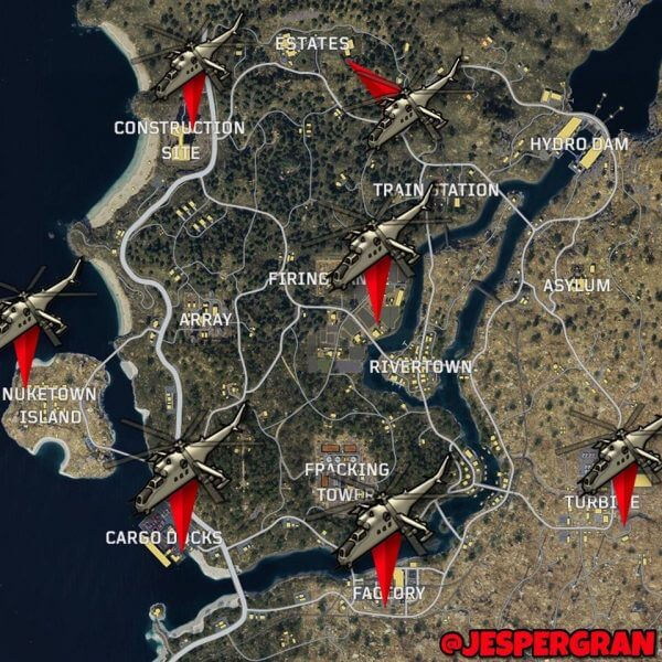 Call of Duty Black Ops 4 - Blackout : Emplacements des hélicoptères