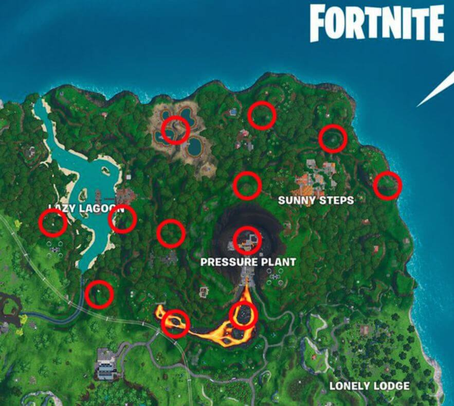 Fortnite - Saison 9 - Semaine 2 - Emplacements des geysers