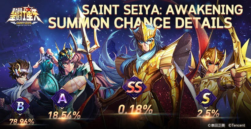 Saint seiya Awakening - Taux de Drop des Chevaliers d'Or - Invocations